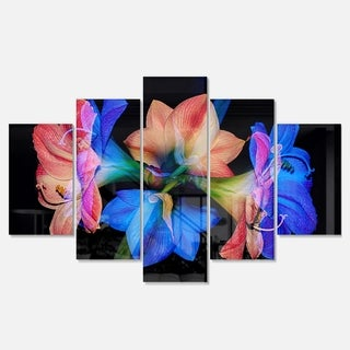 Designart 'Abstract Blue Red Flower on Black' Extra Large Floral Metal Wall Art