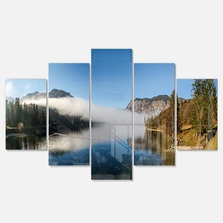 Designart 'Bohinj Lake Panorama' Modern Seashore Metal Wall Art