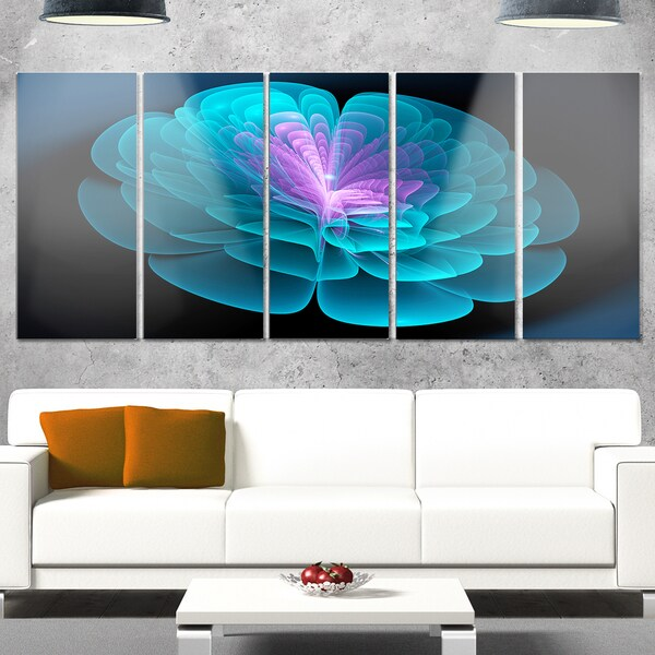 Designart 'Abstract Blue Floral Fractal Background' Extra Large Floral Metal Wall Art