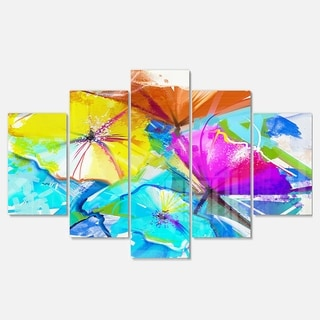 Designart 'Abstract Spring Flowers Still Life' Extra Large Floral Metal Wall Art