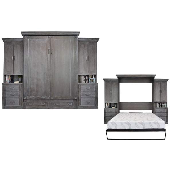 Empire Charcoal Wash Queen Size Murphy Bed With 2 Pier Cabinets