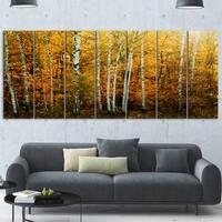 Designart 'Yellow Colorful Autumn Forest' Modern Forest Metal Wall Art
