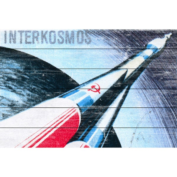 Marmont Hill - Handmade Interkosmos Painting Print on White Wood