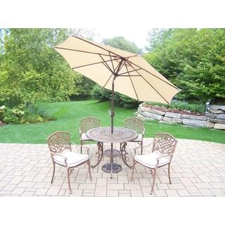 Maison Rouge Amara 7-piece Outdoor Dining Set with Beige Umbrella