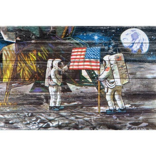 Marmont Hill - Handmade Moon Landing Painting Print on White Wood