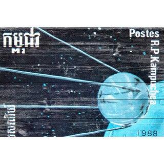 Marmont Hill - Handmade Sputnik Stamp Painting Print on White Wood