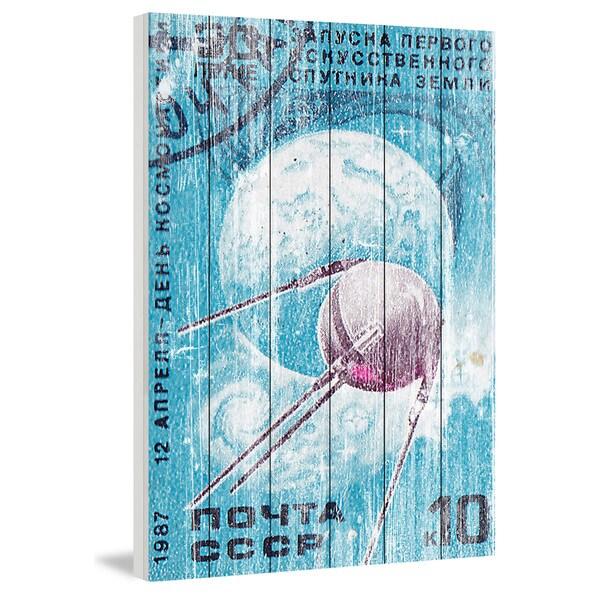 Marmont Hill - Handmade Orbiting Sputnik Painting Print on White Wood
