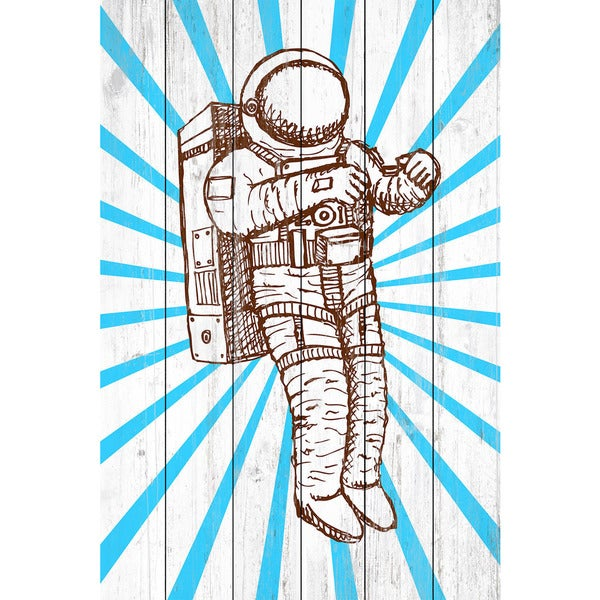 Marmont Hill - Handmade Space Suit Painting Print on White Wood