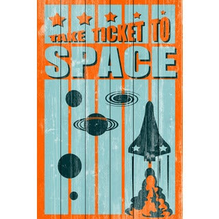 Marmont Hill - 'Ticket to Space' Painting Print on White Wood