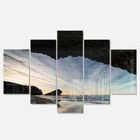 Designart 'Monsul Beach during Sunset' Large Seashore Glossy Metal Wall Art