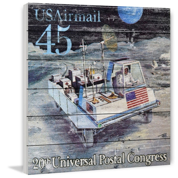 Marmont Hill - Handmade Lunar Rover Stamp Painting Print on White Wood