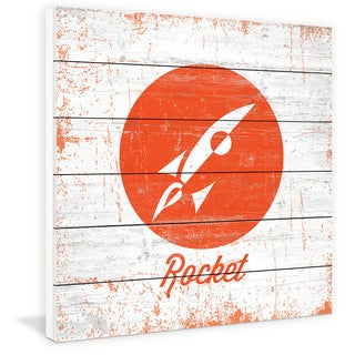 Marmont Hill - Handmade Rocket Painting Print on White Wood