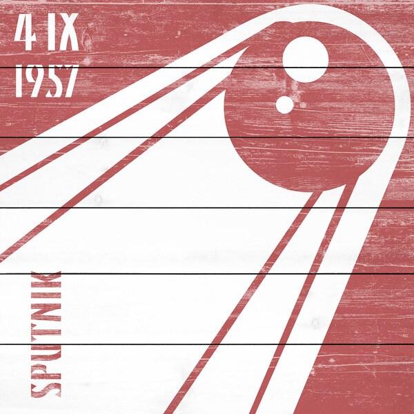 Marmont Hill - Handmade Sputnik 1957 Painting Print on White Wood