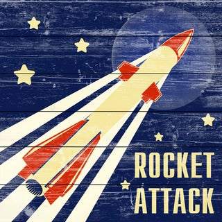 Marmont Hill - Handmade Rocket Attack Painting Print on White Wood