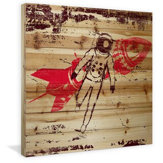 Marmont Hill - Handmade Rocket Man Painting Print on Natural Pine Wood