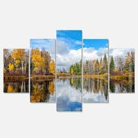 Designart 'Nice Autumn Trees With Forest Lake' Landscape Artwork Glossy Metal Wall Art