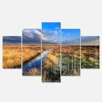 Designart 'Beautiful Meadow with Blue Sky' Landscape Artwork Glossy Metal Wall Art
