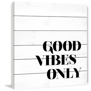 Marmont Hill - Handmade Good Vibes Only Painting Print on White Wood
