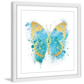 Marmont Hill - 'Butterfly Gold Blue' by Amanda Greenwood Framed Painting Print