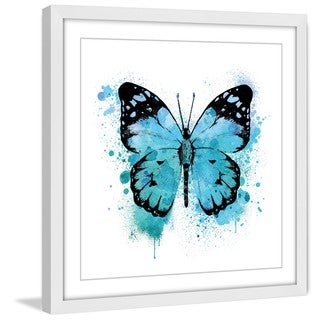 Marmont Hill - 'Butterfly Black Blue' by Amanda Greenwood Framed Painting Print