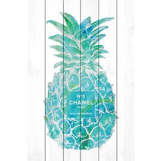 Marmont Hill - 'Pineapple Trop Silver' by Amanda Greenwood Painting Print on White Wood (5 options available)