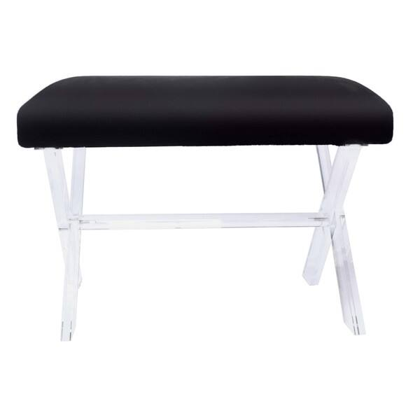 Swell Shop Harlow Faux Fur Vanity Stool Acrylic Base Black Free Dailytribune Chair Design For Home Dailytribuneorg