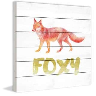 Marmont Hill - Handmade Foxy Painting Print on White Wood