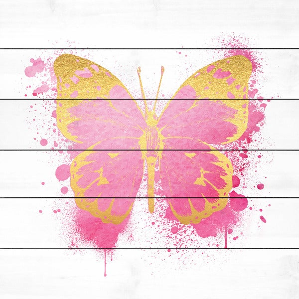 Marmont Hill - Handmade Butterfly Gold Pink Painting Print on White Wood