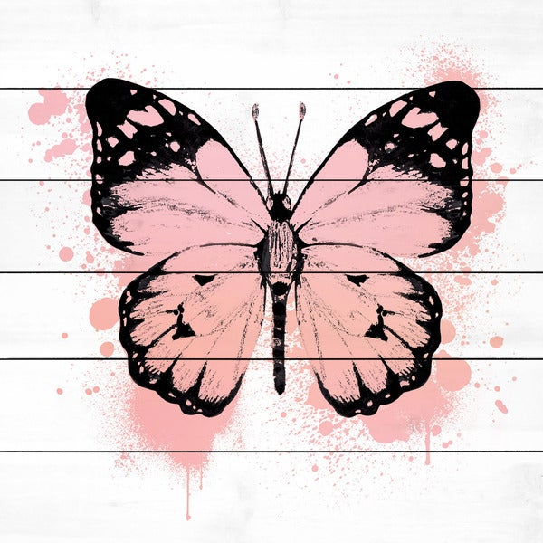 Marmont Hill - Handmade Butterfly Black Peach Painting Print on White Wood