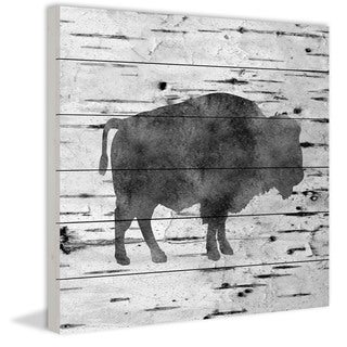 Marmont Hill - Handmade Bison Birch Bark Painting Print on White Wood