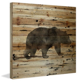 Marmont Hill - Handmade Bear Birch Bark Painting Print on Natural Pine Wood