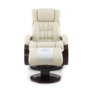 Oslo Collection Beige Breathable Air Leather Recliner with Ottoman