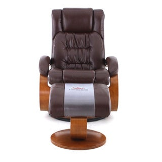 Oslo Collection Narvick Whisky (Brown) Breathable Air Leather Recliner with Ottoman