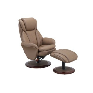 Comfort Chair Collection Sand (Tan) Leather Swivel, Recliner with Ottoman