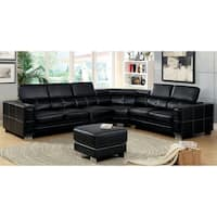 Furniture of America Garzion 2-piece Pneumatic Gas Lift Headrest Black Sectional with Ottoman