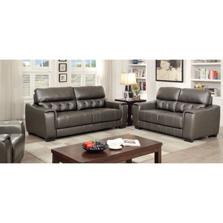 Furniture of America Hacienda Contemporary 2-piece Tufted Dark Grey Sofa Set