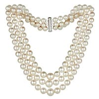 DaVonna Sterling Silver Graduated 4-8.5mm Freshwater Pearl 3-rows Choker Necklace, 16""