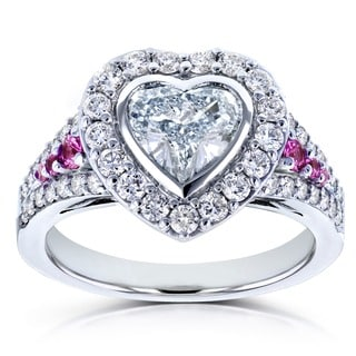 Annello by Kobelli 18k White Gold Certified 1 4/5ct TDW Diamond and Pink Sapphire Heart Shape Halo Ring (E, SI2)
