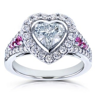Annello by Kobelli 18k White Gold Certified 1 4/5ct TDW Diamond and Pink Sapphire Heart Shape Halo Ring (E, SI2)|https://ak1.ostkcdn.com/images/products/13931069/P20563270.jpg?_ostk_perf_=percv&impolicy=medium