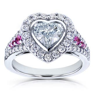 Annello by Kobelli 18k White Gold Certified 1 4/5ct TDW Diamond and Pink Sapphire Heart Shape Halo Ring (E, SI2)|https://ak1.ostkcdn.com/images/products/13931069/P20563270.jpg?impolicy=medium