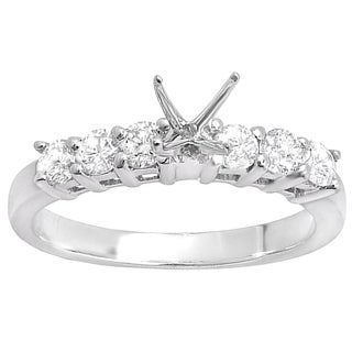 14K White Gold 5/8 CT.TDW Round Diamond Ladies Bridal Semi Mount Ring Set (No Center Stone) (IJ & I1-I2)