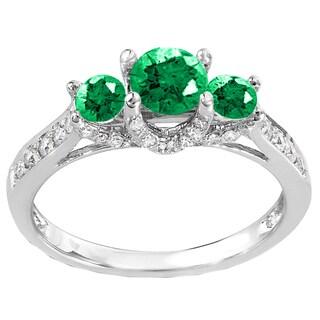 14k White Gold 1ct TW Diamond and Emerald 3-stone Bridal Engagement Ring (H-I, I1-I2)