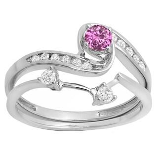 10k White Gold 1/2ct TW Round Pink Sapphire and White Diamond Swirl Bridal Ring Set (H-I, I1-I2)