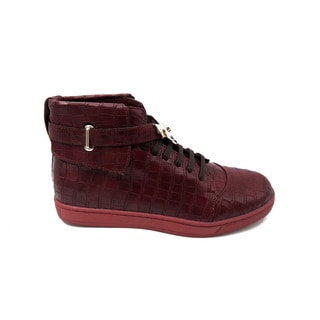 Mecca Men's Burgundy Faux-leather High-top Buckled Shoe