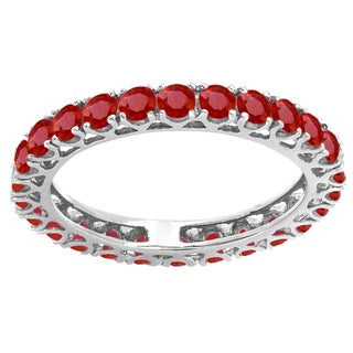 10k White Gold 1 3/4ct TW Round Ruby Eternity Wedding Stackable Ring Band