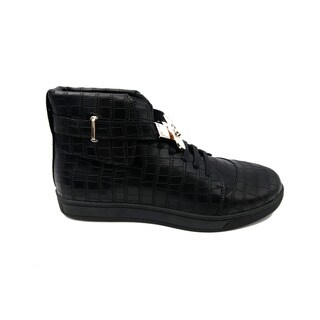 Mecca Men's Black Faux-leather High-top Buckled Top Shoe