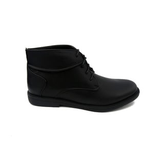 Mecca Men's Black Faux-leather High-top Chukka Boots