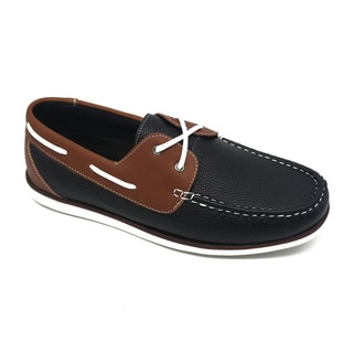 Mecca Men's Slip-ons Black Faux Leather Boat Shoes