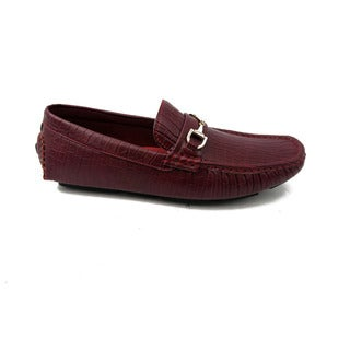 Mecca Mens Slip-On Loafer Driver Shoes-Burgundy