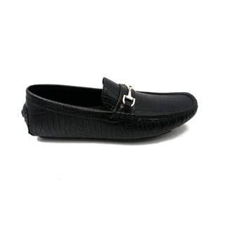 Mecca Men's Black Faux Leather Slip-on Loafer Driver Shoes